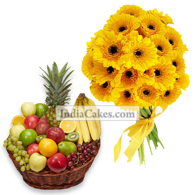 10 Yellow Gerberas Bunch And Basket Of 2 Kg Fresh Fruits
