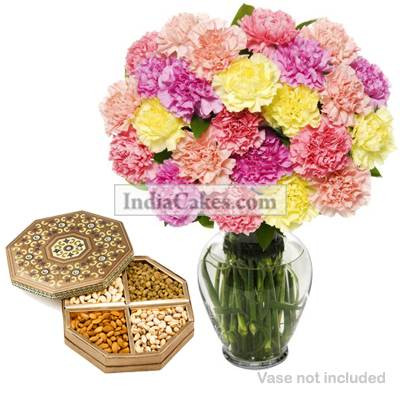 12 Mix Carnation Bunch And Half Kg Dry Fruits