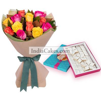 12 Mix Coloured Roses And Pack Of Half Kg Kaju Katli Sweets