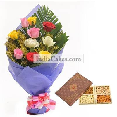 12 Mix Roses Bunch And Half Kg Dry Fruits Pack