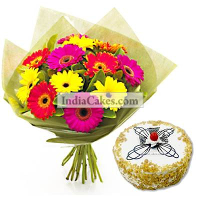 12 Mixed Gerberas Bunch And Half Kg Butter Scotch Cake