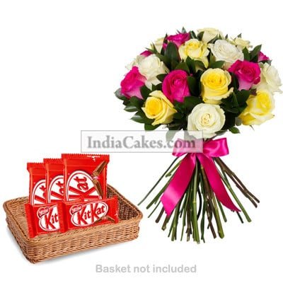 12 Mixed Roses Bunch And 5 Nestle KitKat