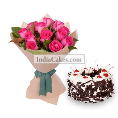 12 Pink Roses Bunch And Half Kg Black Forest Cake