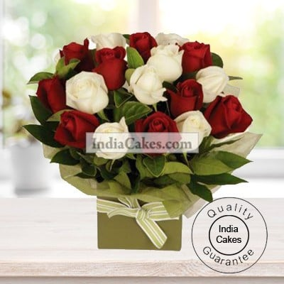 12 Red And White Roses Bunch