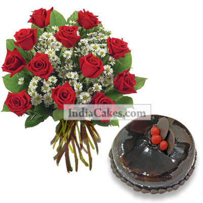 12 Red Roses Bunch And Half Kg Chocolate Cake