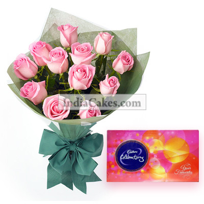 Bunch Of 12 Pink Roses And Cadbury Celebrations Chocolate Box