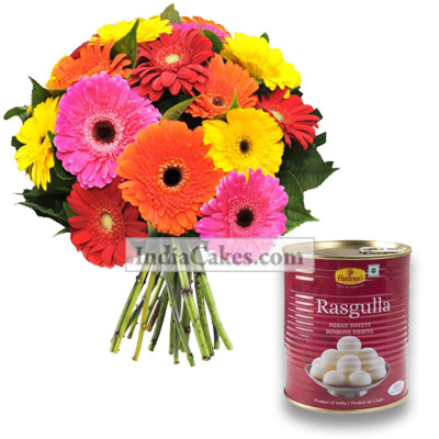 15 Mixed Gerberas Bunch And 1 Kg Rasgullas