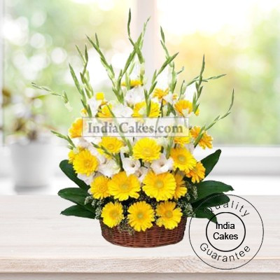 15 YELLOW GERBERAS AND 10 GLADS BASKET ARRENGEMENT