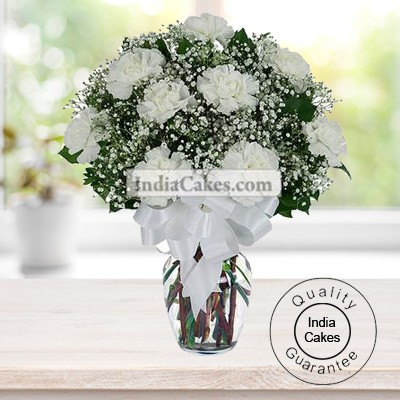 15 WHITE CARNATIONS BUNCH