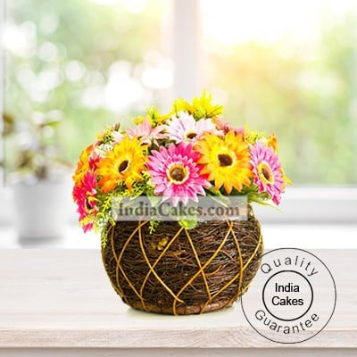 18 MIXED GERBERAS BASKET ARRENGEMENT