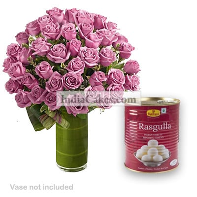 25 Pink Roses Bunch And 1 Kg Rasgullas