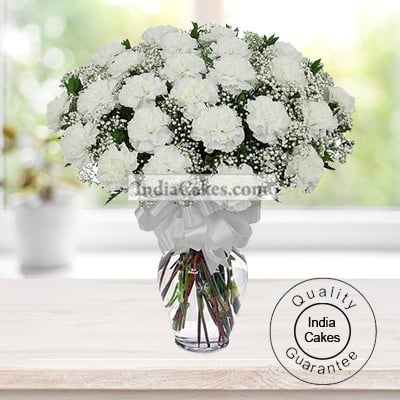 20 White Carnations Bunch
