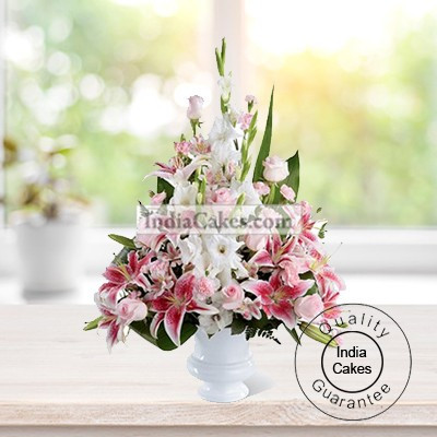 6 MULTIBUDS MIX ASIATIC LILLIUMS ARRANGED IN A BASKET