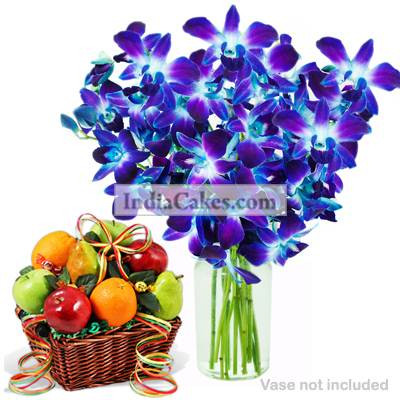 6 Orchids Bunch And 2 Kg Fruit Basket