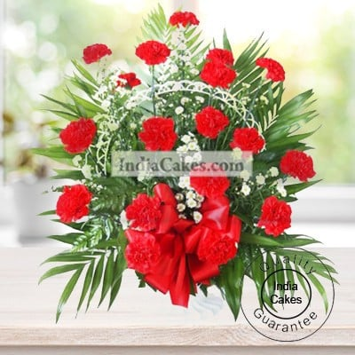 ARRANGEMENT OF 20 RED CARNATIONS