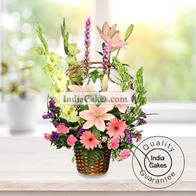 BASKET ARRANGEMENT OF 6 GLAD, 6 GERBERA AND 4 ASIATIC LILLY