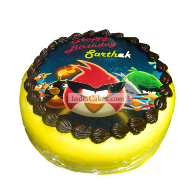 Fondant Angry Birds Photo Cake One Kilogram