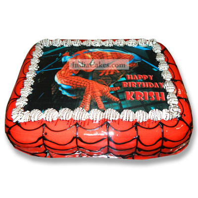 Fondant Spiderman Photo Rectangle Cake One Kilogram
