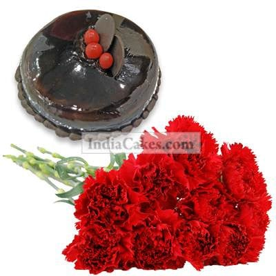 12 Red Carnations Bunch with 1 Kg Chocolate Cake