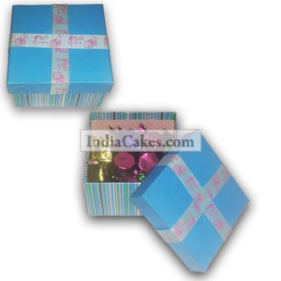 Blue Chocolate Box With Ribbon