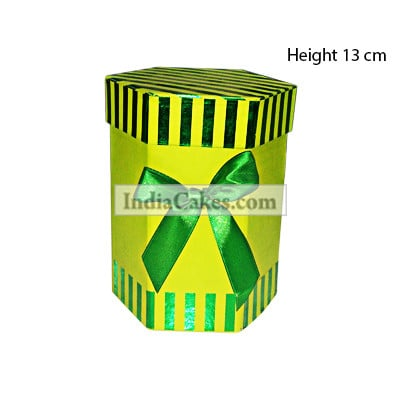13 Cm Hexagon Shaped Green Color Chocolate Box