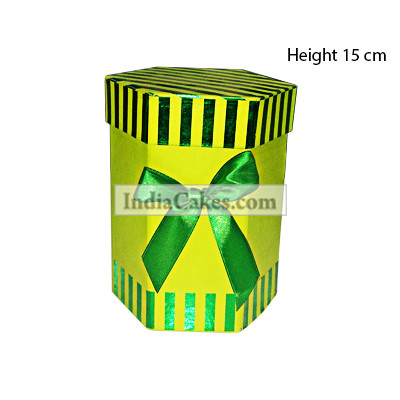 15 Cm Hexagon Shaped Green Color Chocolate Box