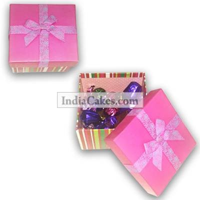 Pink Chocolate Box With Ribbon