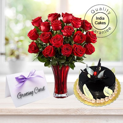 1/2 Kg Cake-6 Flowers Greeting Card