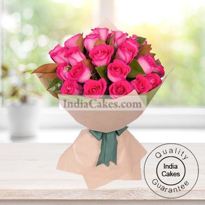 Hand Tied 30 Pink Roses Bunch