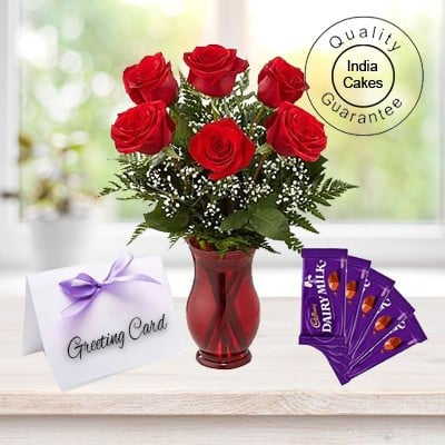 6 Red Rose Bunch,5 Cadbury Chocolate Bars,1 Greeting Card