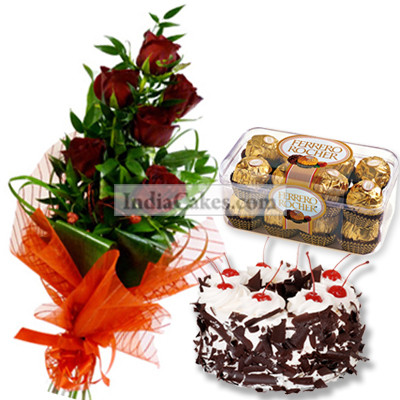 6 Red Rose Bunch,1/2 Kg Black Forest Cake , 16 Pcs Ferrero Rocher Chocolates