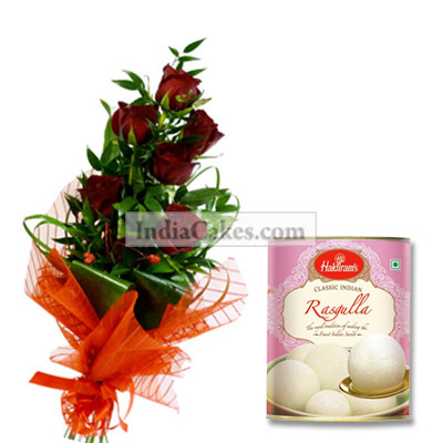 6 Red Rose Bunch with 1Kg Rassogula