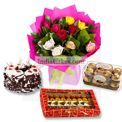 1/2 Kg Black Forest Cake 16 Pcs Ferero Rocher Chocolates 1/4 Kg Assorted Sweets 10 Mix Roses