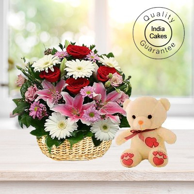 Mix Flowers basket and 6 Inch Teddy