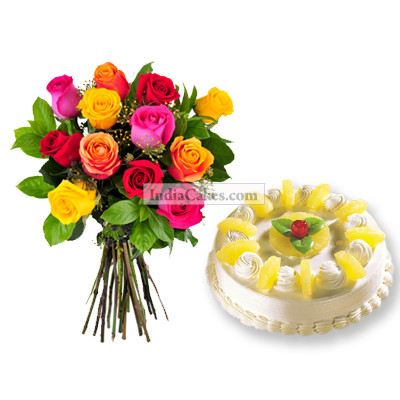 Eggless Pineapple Cake 1 Kg with 12 Mix Roses Bunch