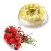 Pineapple Cake Half Kg with 6 Red Roses Bunch
