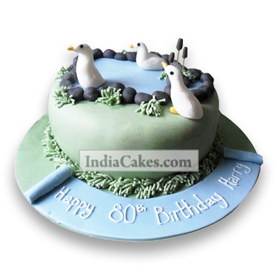 Fondant Lovely Swan Cake Two Kilogram