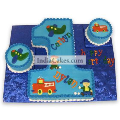 1st Birthday Twin Boys Cake Three Kilogram