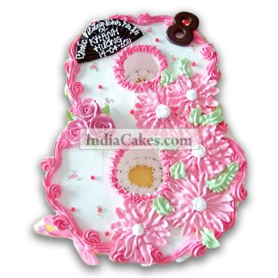 8th Birthday Flowers Cake Three Kilogram