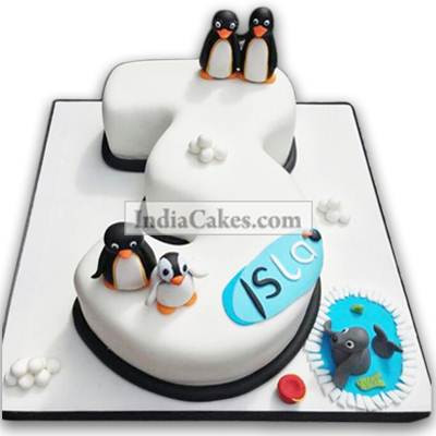 3rd Birthday Penguin Cake Three Kilogram