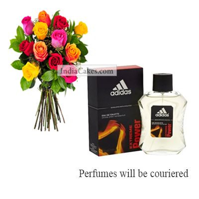 12 Mix Roses Bunch And Adidas Extreme Power Men 100 ml