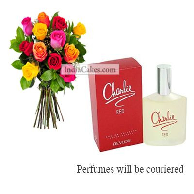 12 Mix Roses Bunch And Charlie Revlon Perfume 100 ml