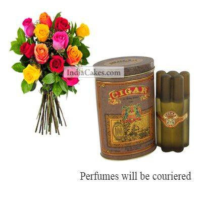 12 Mix Roses Bunch And Cigar Perfume 100 ml