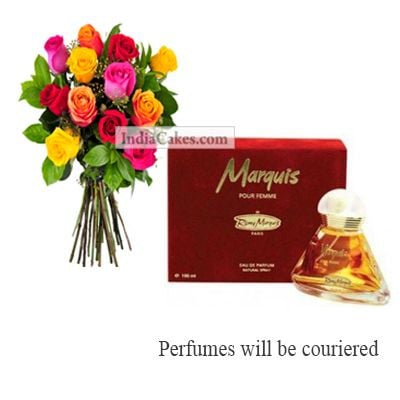 12 Mix Roses Bunch And Marquis Perfume 100 ml