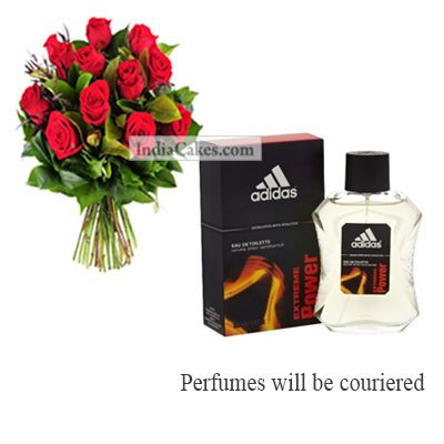 12 Red Roses Bunch And Adidas Extreme Power Men 100 ml