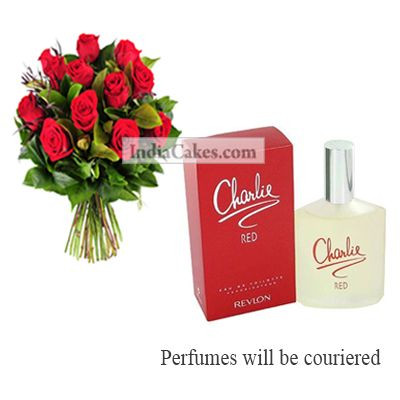 12 Red Roses Bunch And Charlie Revlon Perfume 100 ml