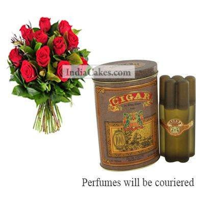 12 Red Roses Bunch And Cigar Perfume 100 ml