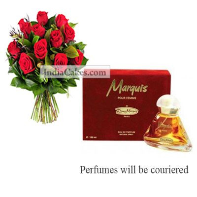 12 Red Roses Bunch And Marquis Perfume 100 ml