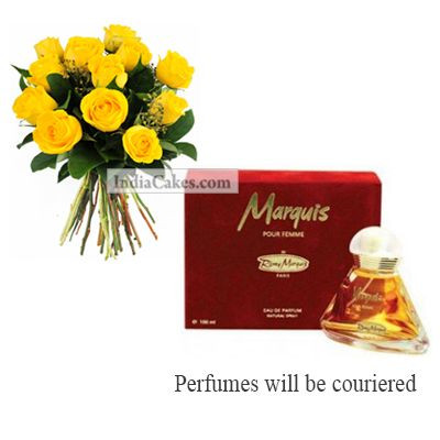 12 Yellow Roses Bunch And Marquis Perfume 100 ml
