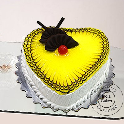 Eggless Pineapple Cake 1 Kg Heart Shape
